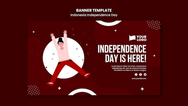 Indonesia independence day banner concept template