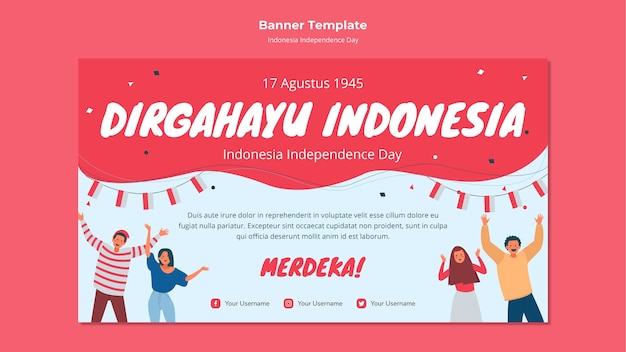 Indonesia independence day banner style