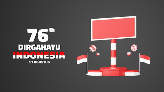 Indonesia independence day empty podium promo display landscape background. 17 august 76 years of indonesia