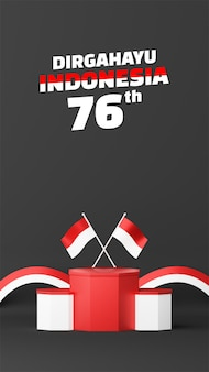 Indonesia independence day empty podium promo display portrait background. 17 august 76 years of indonesia
