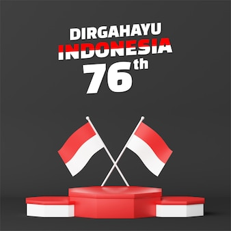 Indonesia independence day empty podium promo display square background. 17 august 76 years of indonesia