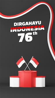 Indonesia independence day empty podium promo display story background. 17 august 76 years of indonesia
