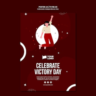 Indonesia independence day flyer concept template