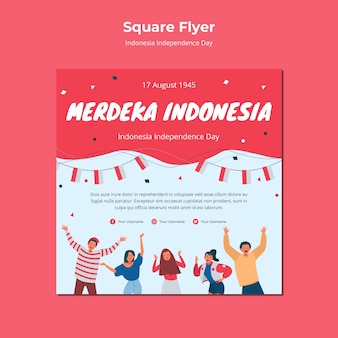 Indonesia independence day square flyer