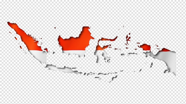 Indonesian flag map