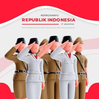 사람들에게 경례하는 3d 캐릭터가 있는 인도네시아 독립 배너