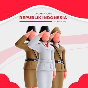 사람들에게 경례하는 3d 여성 캐릭터가 있는 인도네시아 독립 배너