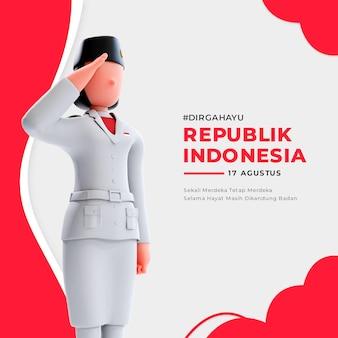 사람들에게 경례하는 3d 여성 기수 캐릭터가 있는 인도네시아 독립 배너