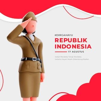 3d 여성 애국자 캐릭터가 있는 인도네시아 독립 배너