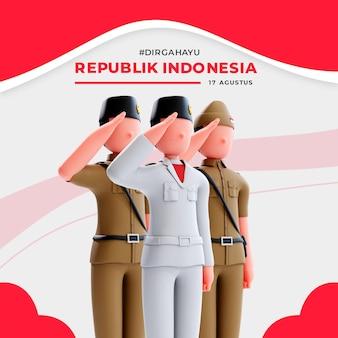 사람들에게 경례하는 3d 남성 캐릭터가 있는 인도네시아 독립 배너