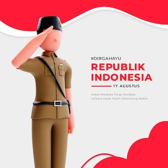 사람들에게 경례하는 3d 남성 애국자 캐릭터가 있는 인도네시아 독립 배너