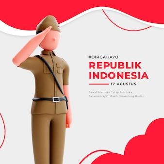 3d 남성 애국자 캐릭터가 있는 인도네시아 독립 배너