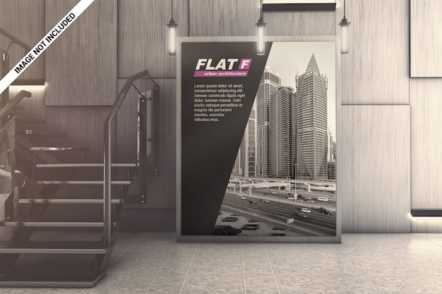 Indoor business hall advertising mockup