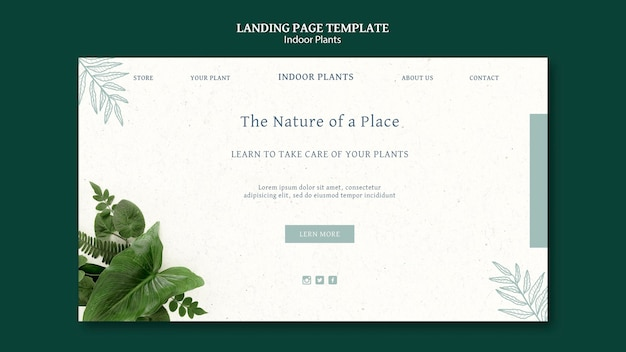 Indoor plants landing page with photo