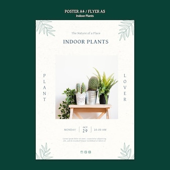 Indoor plants poster template with photo