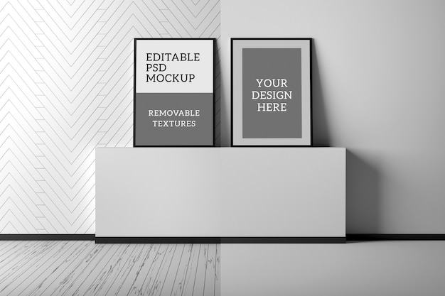 Of indoor scene interior with two blank a4 picture frames