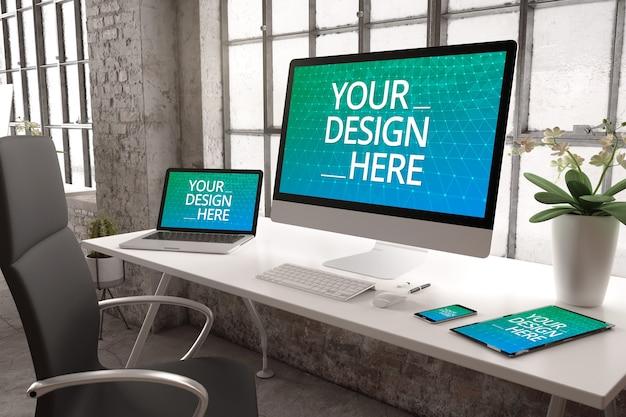 レスポンシブウェブサイト用のデバイスモックアップを備えた産業用オフィス