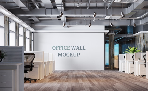 Industrial style workspace with wall mockup