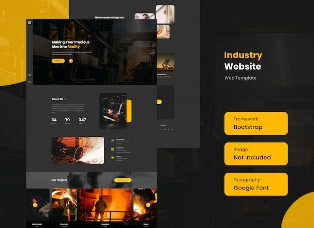 Industry and steel website template in dark mode