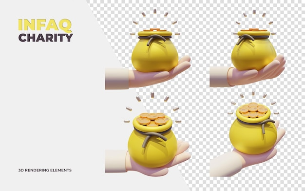 Infaq charity 3d rendering elements