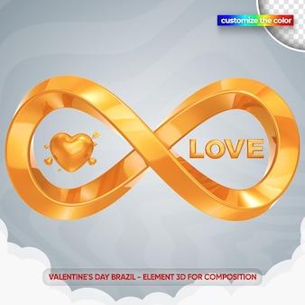 Infinity love valentine's day illustration in 3d rendering mockup