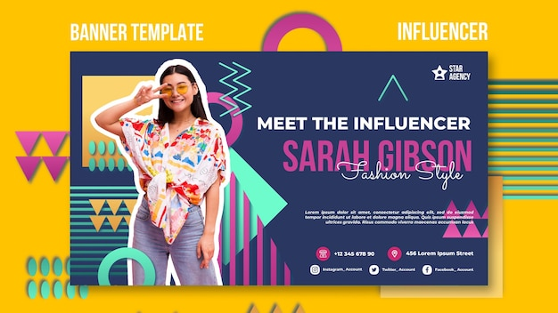 Influencer banner template with photo