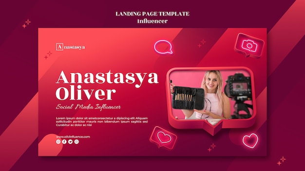 Influencer concept landing page template