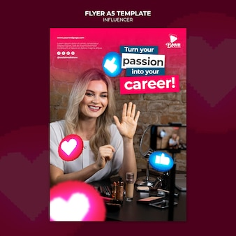 Influencer flyer template with photo