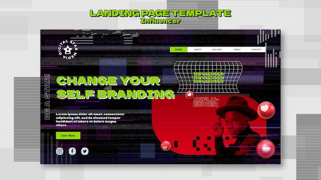 Influencer landing page template with photo