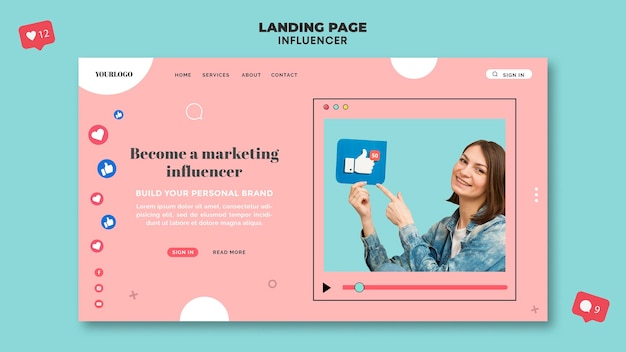 Influencer landing page template