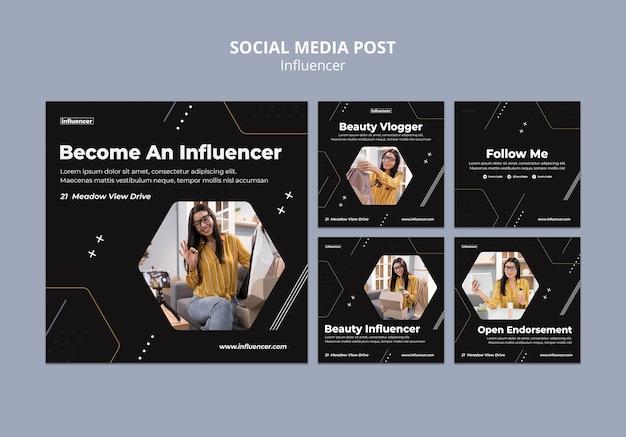 영향력있는 소셜 미디어 게시물 세트