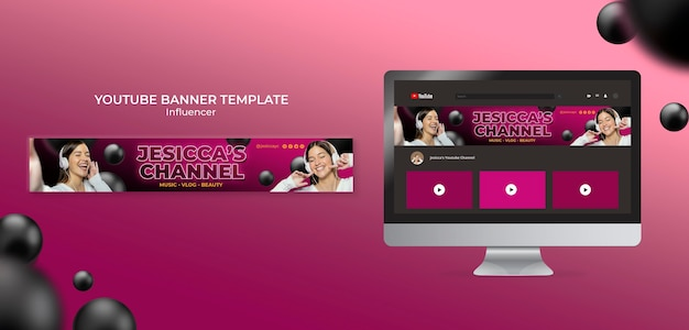 Influencer youtube banner template