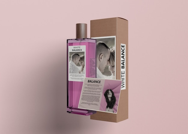 Informational card for bottle of perfume