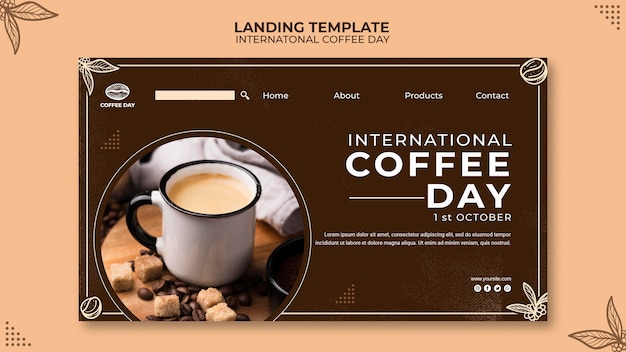 Ininternational coffee day landing page concept template