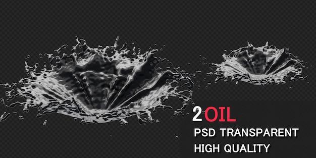 Ink oil splash in 3d rendering isolated