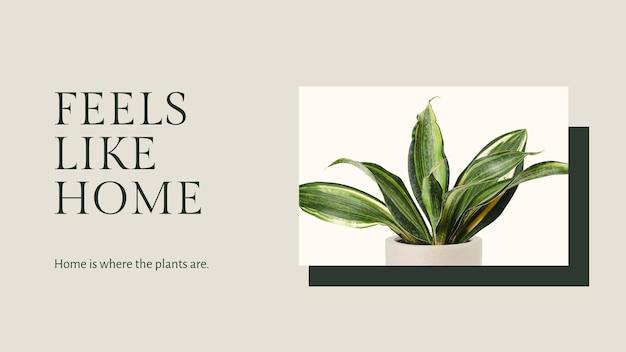 Citazione ispiratrice modello botanico psd con banner blog pianta sansevieria in stile minimal