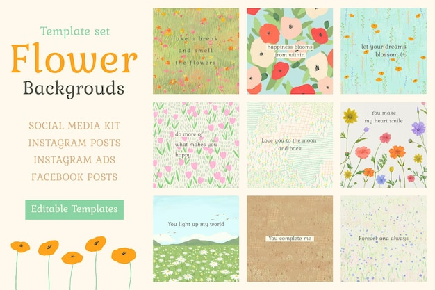 Inspirational quote editable template psd on floral background for social media post set