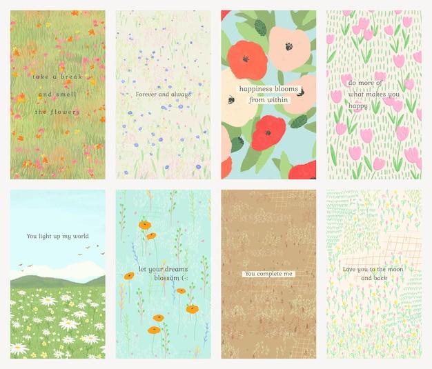 소셜 미디어 이야기 세트에 대한 꽃 배경에 영감 따옴표 편집 가능한 템플릿 psd