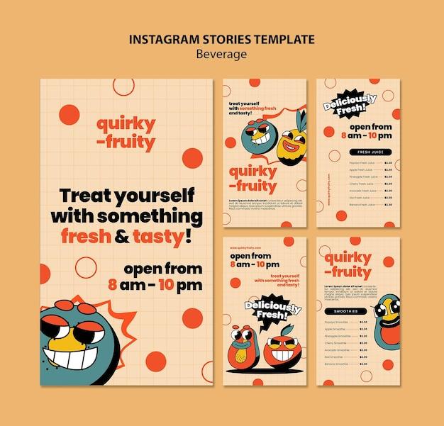 Insta 이야기 음료 캐릭터 디자인 템플릿