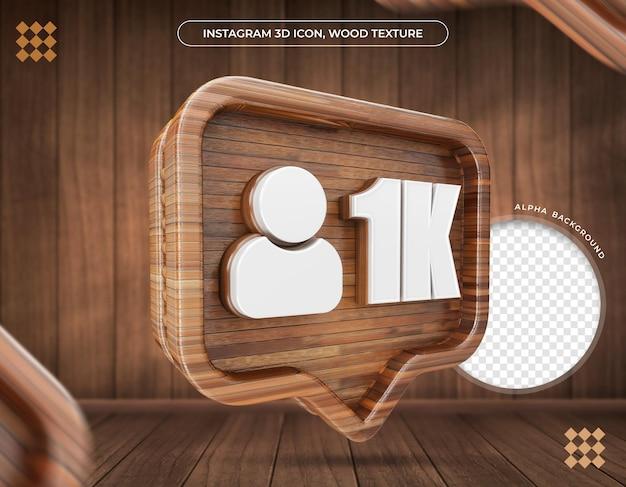 Instagramの3dアイコン1kフォロワーメタリックテクスチャ