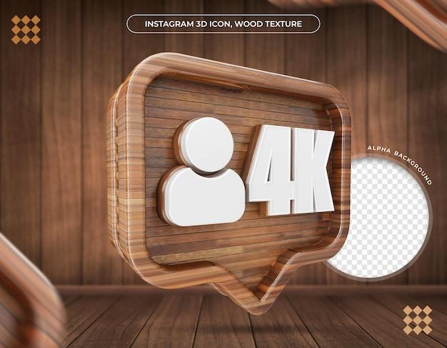 Instagramの3dアイコン4kフォロワーのメタリックテクスチャ