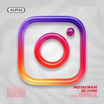 Instagramの3dアイコンレンダリングレンダリング