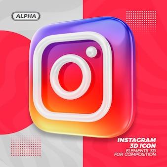 Рендеринг рендеринга 3d иконок instagram