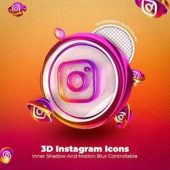 Instagram 3d 아이콘 소셜 미디어 투명 배경