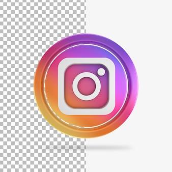 Instagramの3dレンダリングサークルアイコン