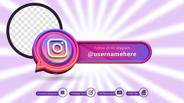 Instagram 3d rendering follow us label isolated premium psd social media banner icon