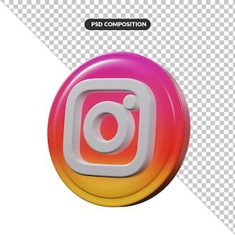 分離されたinstagramの3dレンダリングロゴアプリケーション