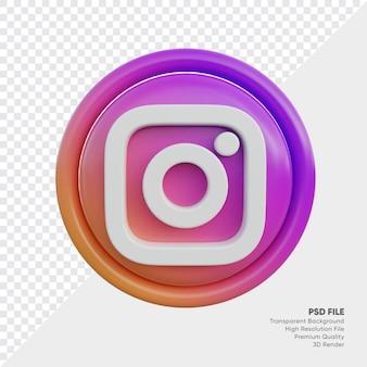 고립 된 라운드에서 instagram 3d 스타일 로고 개념 아이콘