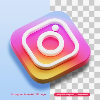 Instagram apps isometric 3d style logo concept icon in round corner square isolated
