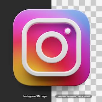 分離された大きなスタイルの3dデザイン資産のinstagramアプリのロゴ